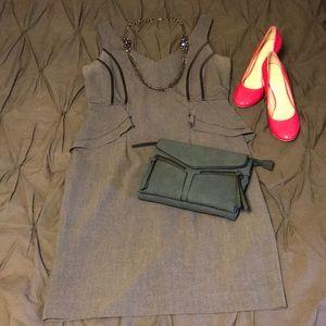 Heather Grey sharp, stylized pencil dress